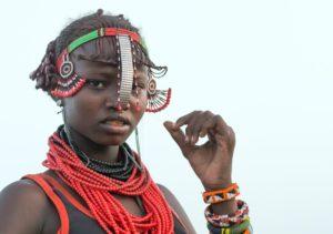 Kenya, Turkana Lake, Loiyangalani, Dassanech Tribe Younf Woman
